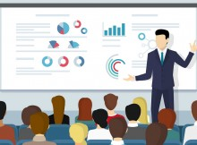 Business seminar speaker doing presentation and professional training about marketing, sales and e-commerce. Flat illustration of public conference and motivation for business audience
